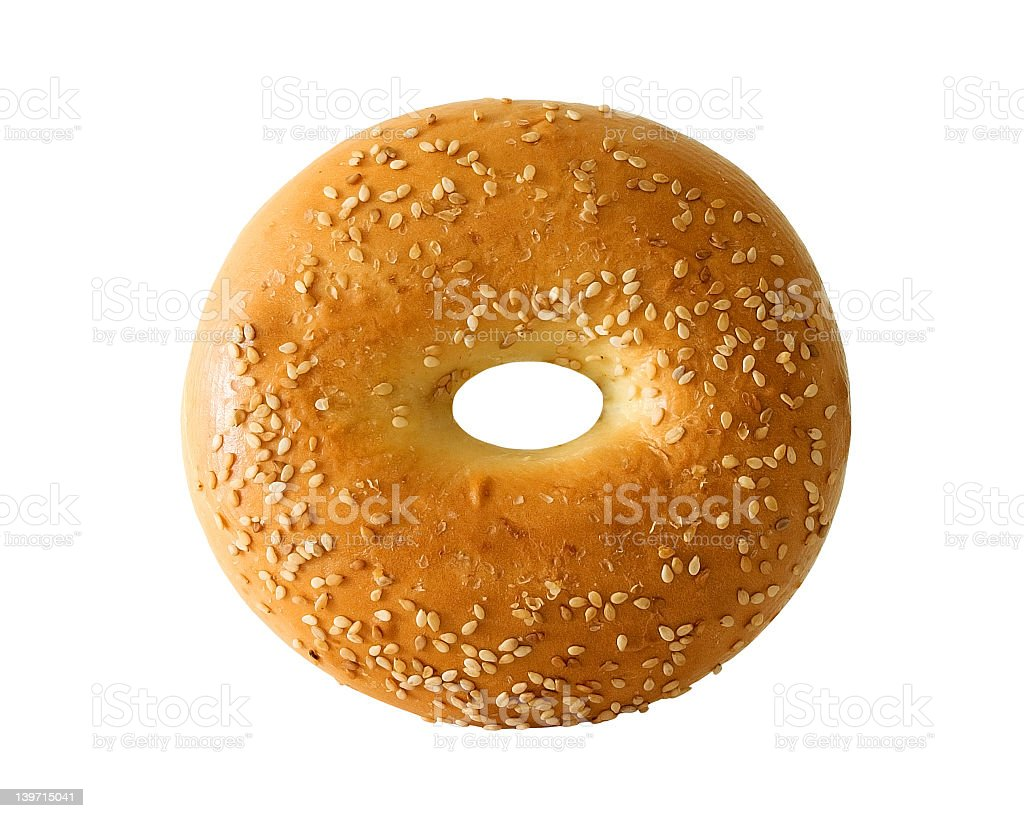 Isolated bagel with sesame seeds on white background stock photo