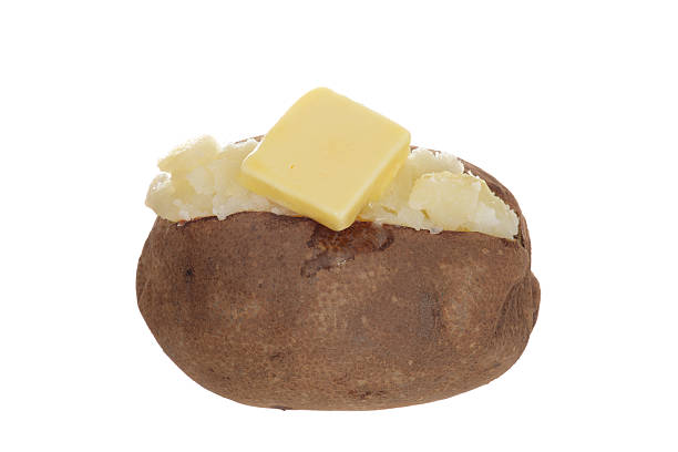 Isolado batata assada com manteiga - foto de acervo