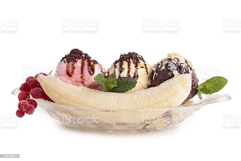 isolated banana split stock photo
