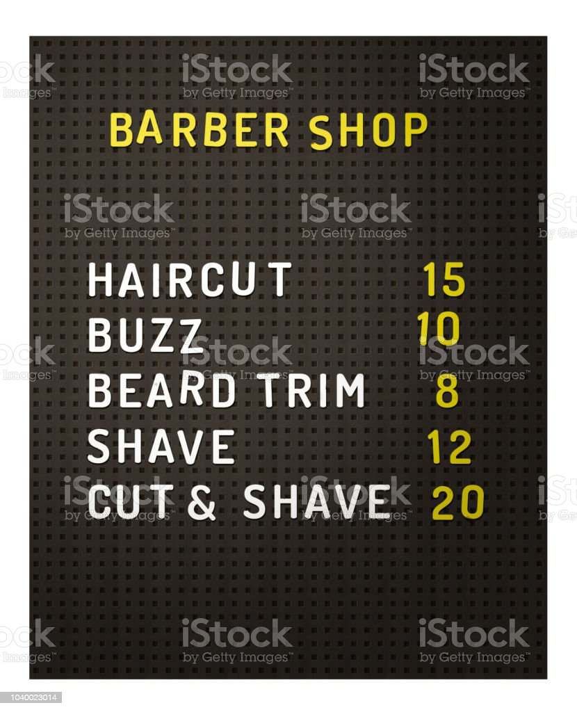 Isolated Barber Shop Prices stock photo