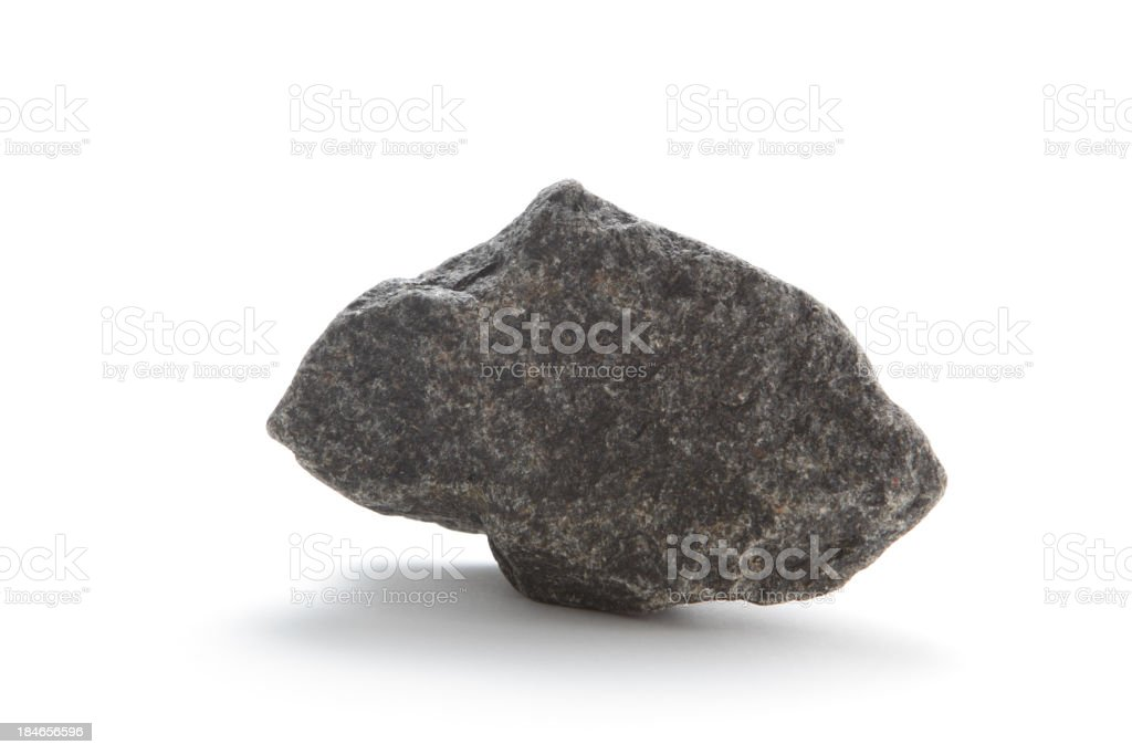 Isolated basalt rock on white stock photo