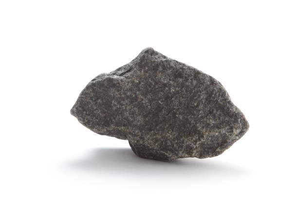 Isolierte basalt rock auf Weiß – Foto