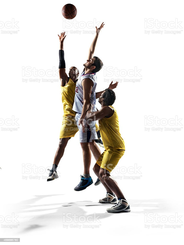 Isolated basketball players stock photo