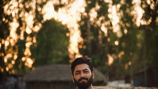 Isolated bearded man unique portraits photo stock photo