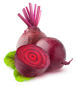 Isolated beetroot. Two raw beetroot vegetables and a half with leaves isolated on white background with clipping path