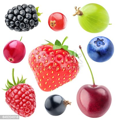 istock Isolated berries collection 645204516