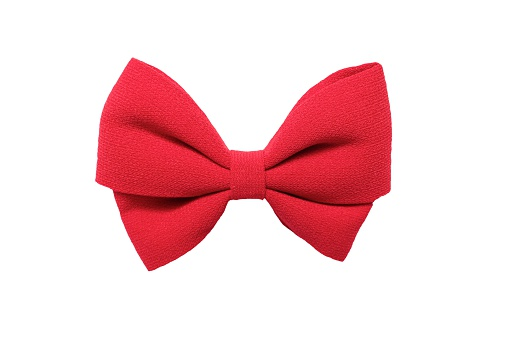 Isolated big red bow on white background, fabric bow, red bow for hair