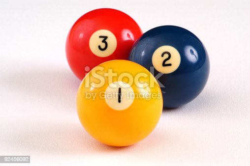 One, two, and three billiard balls arranged in order. DOF on 1, wide crop to include shadows.