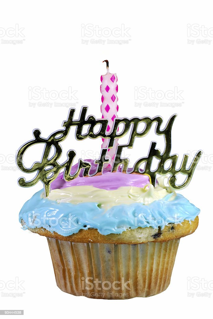 Isolated birthday cupcake royalty-free stock photo