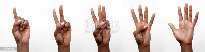 istock Isolated Black African hand counting on fingers 1137908211