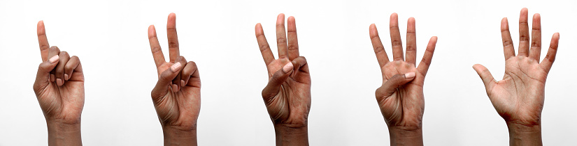 Black female African hands displaying number gestures in front of a white background