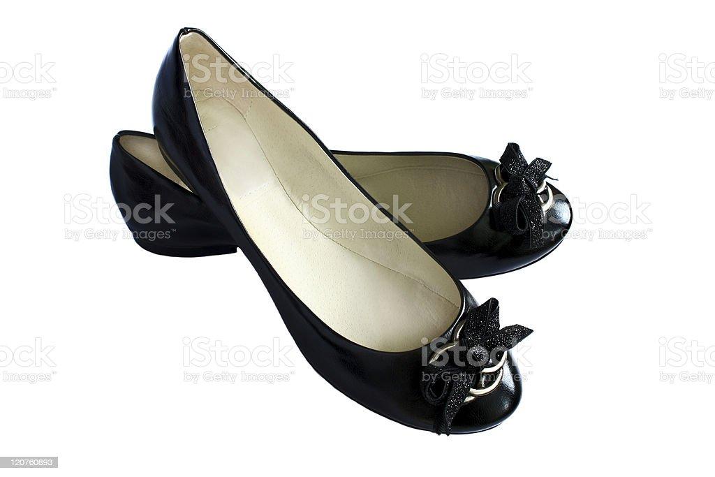 isolated black flat shoes stock photo