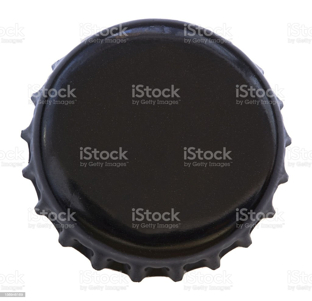 Isolated Black Metal Bottle Cap stock photo