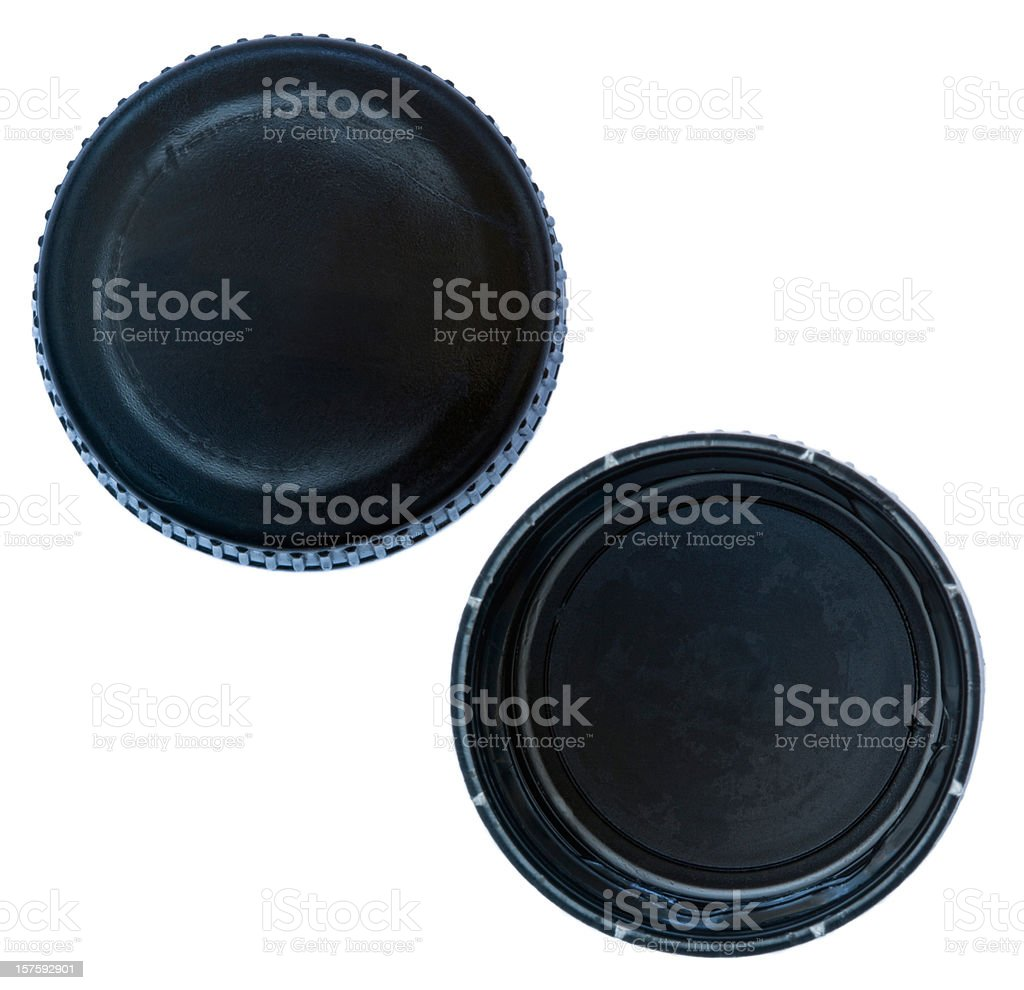 Isolated Black Plastic Cap royalty-free stock photo