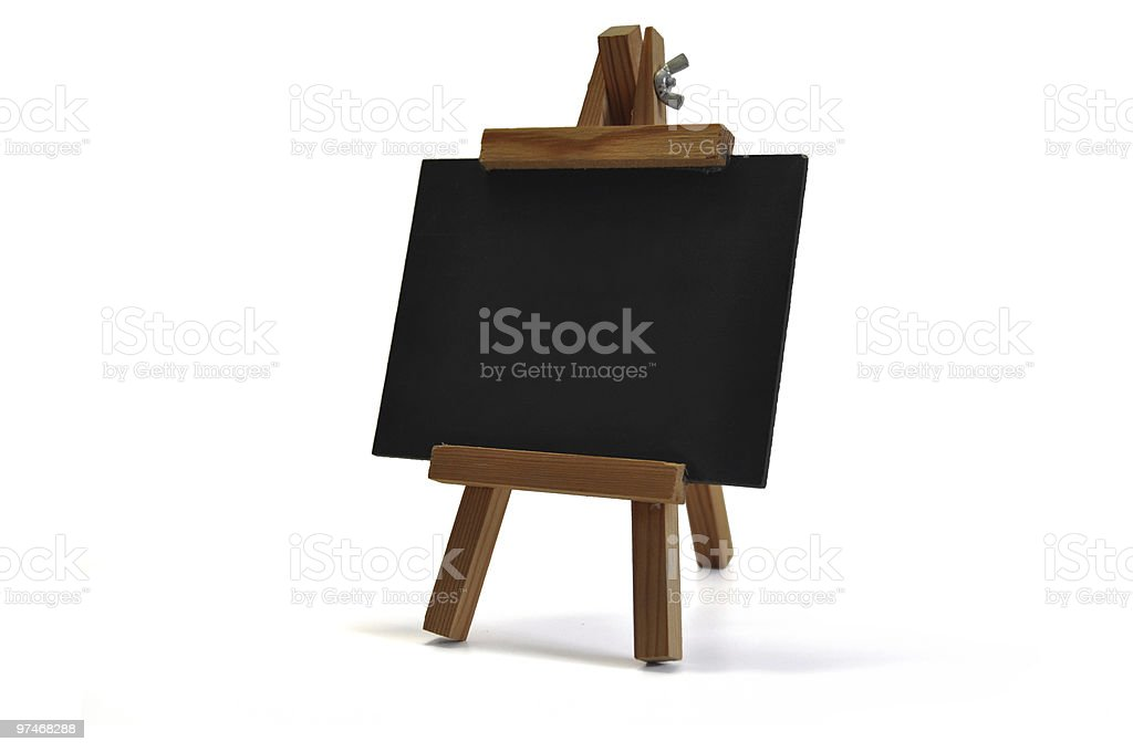 3D isolated blackboard with easel (for your text) royalty-free stock photo
