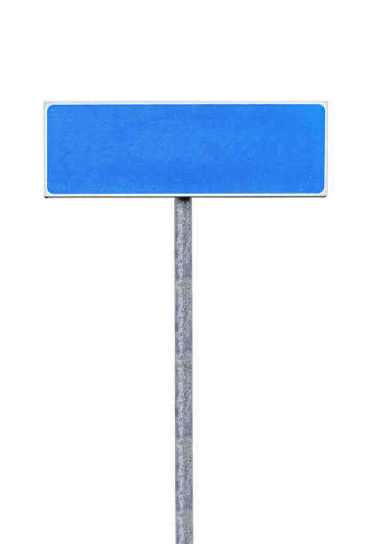 Isolated blank blue road sign stock photo