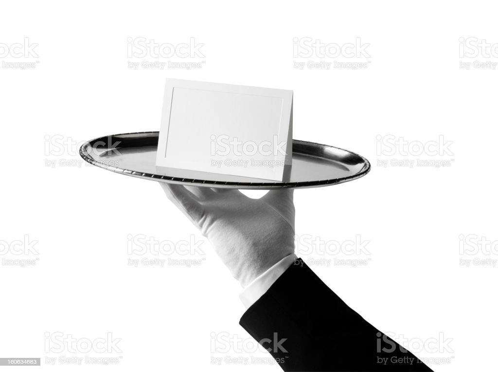 Isolated Blank Card for First Class Service stock photo