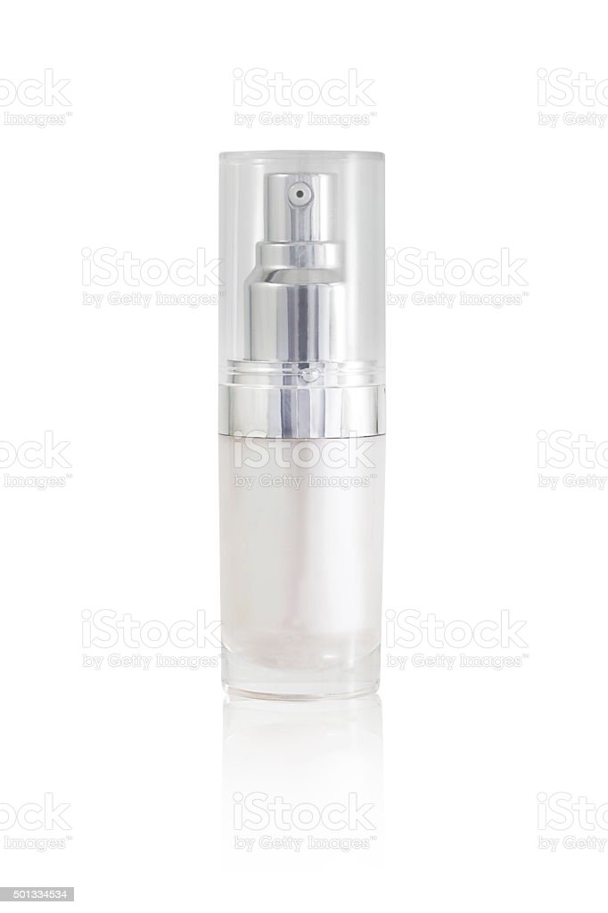 Isolated blank cosmetic bottle with cap on white background stock photo