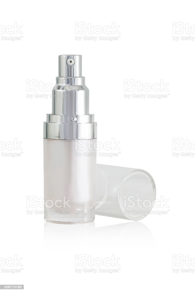 isolated blank cosmetic bottle with open cap on white background stock photo