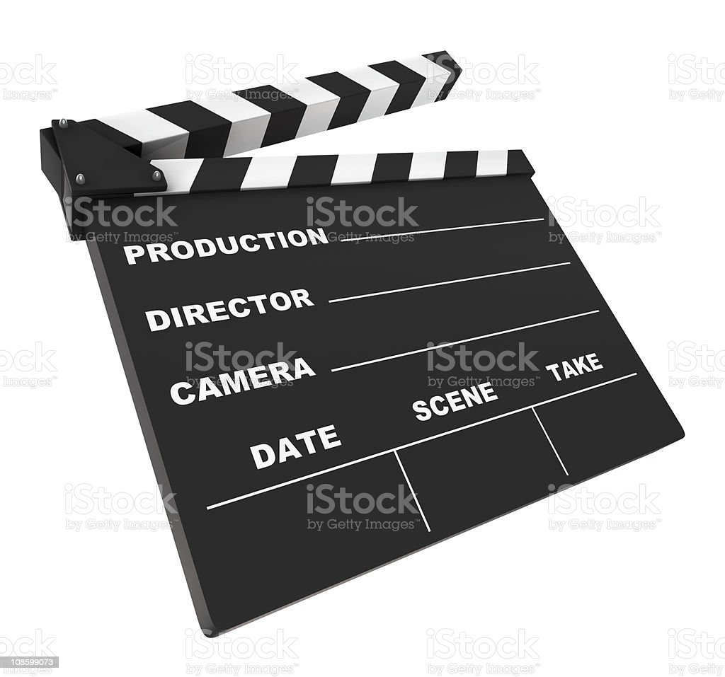 Isolated blank directors clapboard on white background stock photo