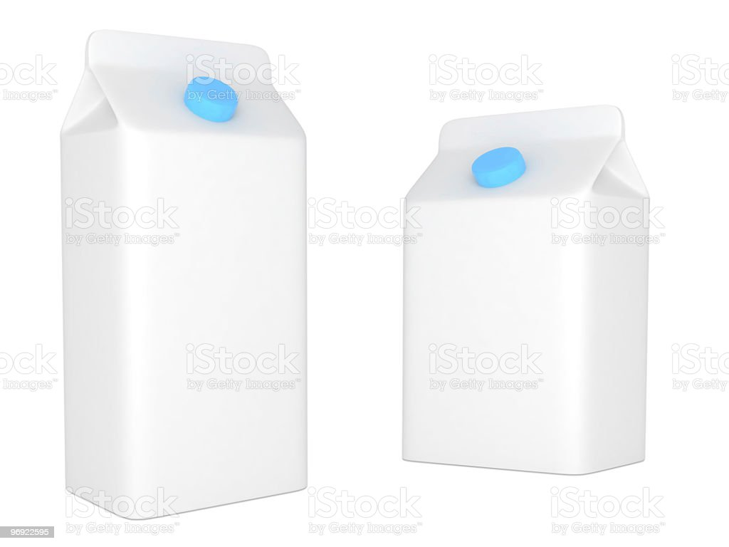 Isolated blank milk or juice carton boxes. royalty-free stock photo