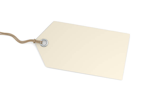 Isolated blank price tag on white background stock photo