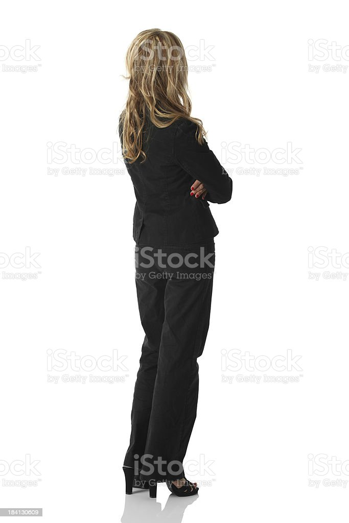 Isolated blond businesswoman rear view royalty-free stock photo