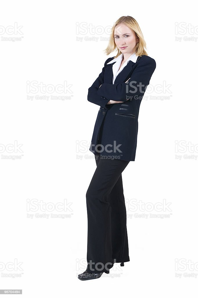 Isolated blonde businesswoman wearing a black suit royalty-free stock photo