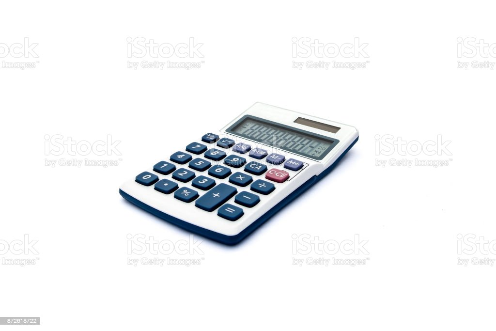 Isolated blue and white calculator for accounts, business, education etc with solar power and white background stock photo