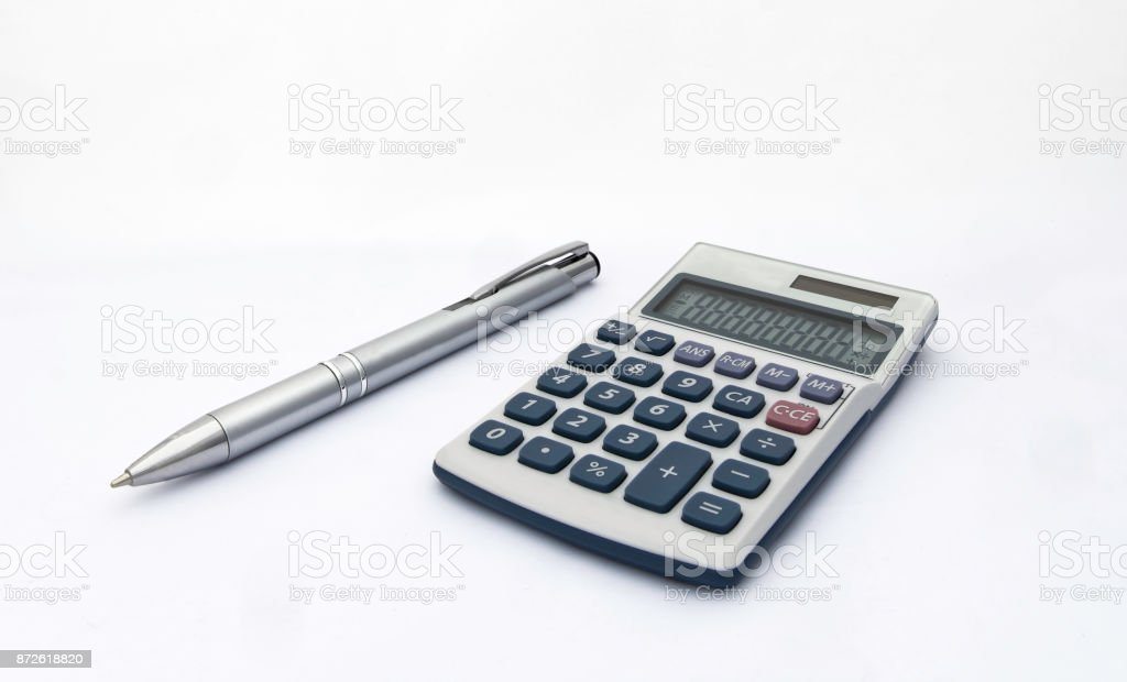 Isolated blue and white calculator with with solar power and silver pen for accounts, business, education etc on white background stock photo