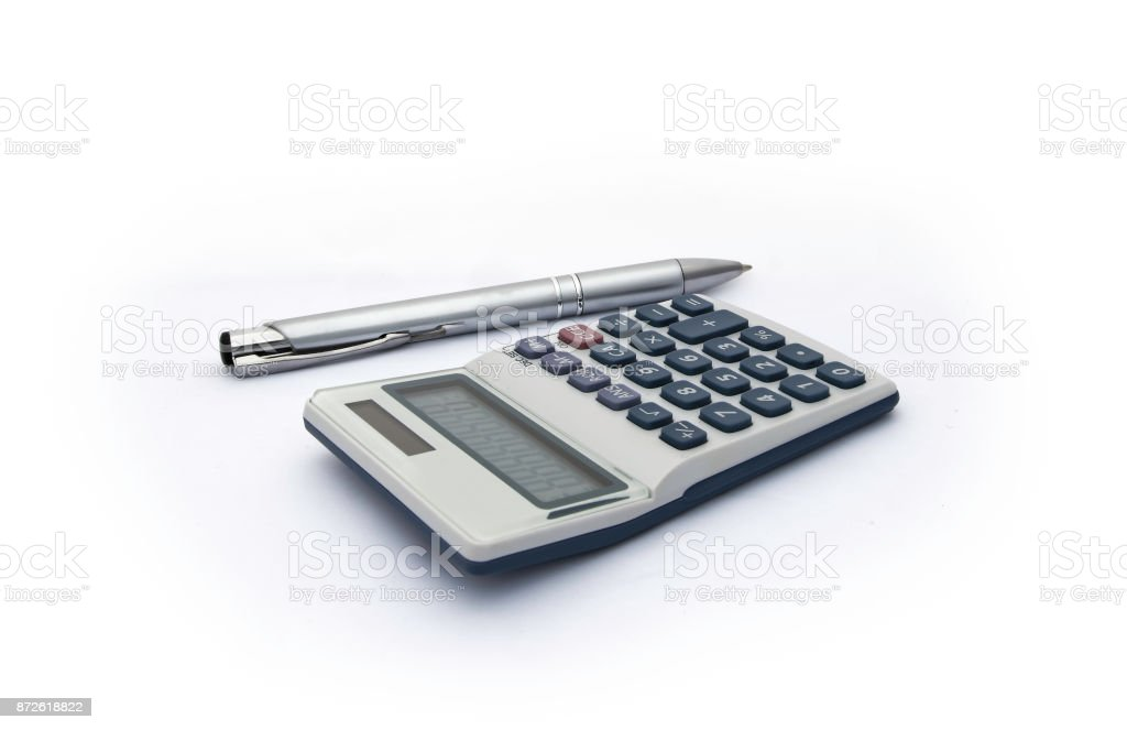 Isolated blue and white calculator with with solar power and silver pen for accounts, business, education etc on white background. stock photo