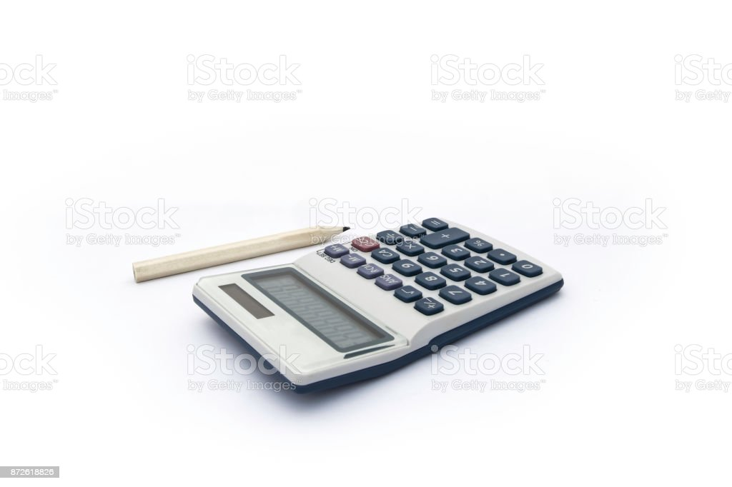 Isolated blue and white calculator with with solar power and wood color pencil for accounts, business, education etc on white background stock photo