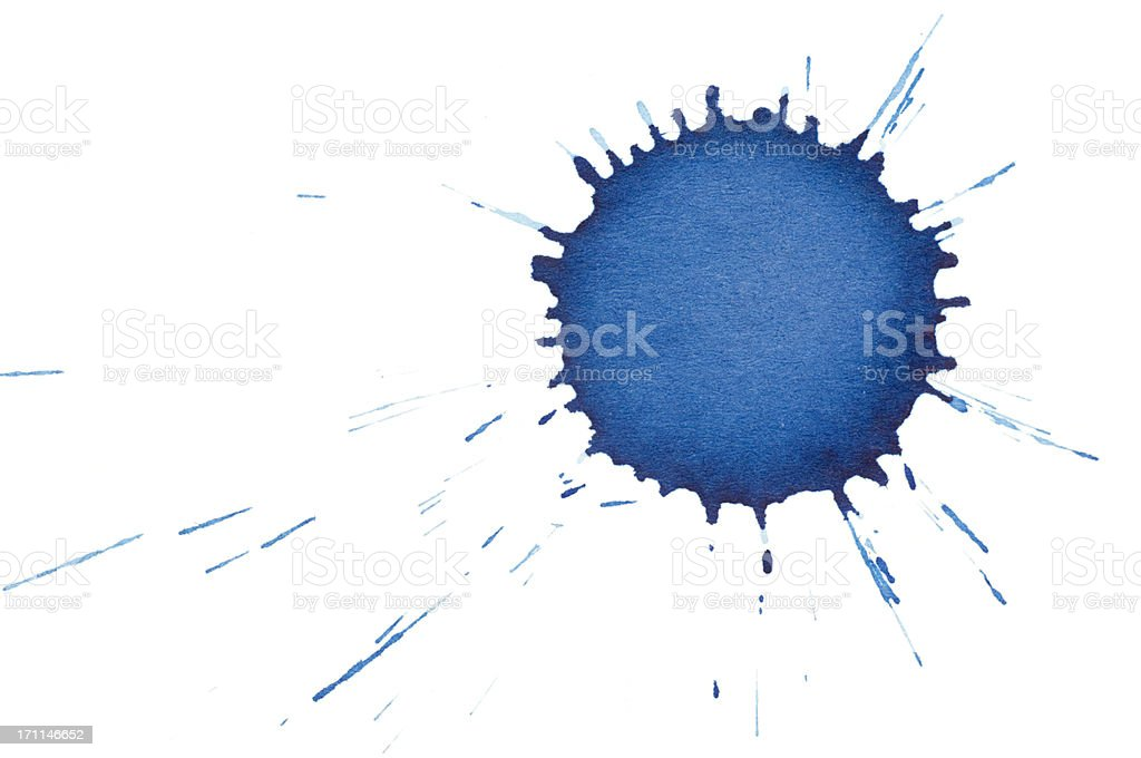 isolated blue ink splatter drops close-up stock photo