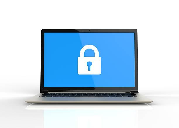3d isolated blue laptop padlock password lock. safe safety priva - computador cadeado - fotografias e filmes do acervo