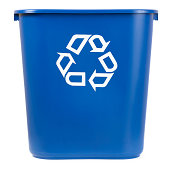 istock Isolated Blue Recycle Bin 182830139