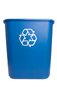 Isolated Blue Recycling Bin