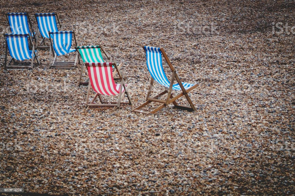 Incredible Isolated Blue Red And White Striped Beach Chairs On An Empty Caraccident5 Cool Chair Designs And Ideas Caraccident5Info