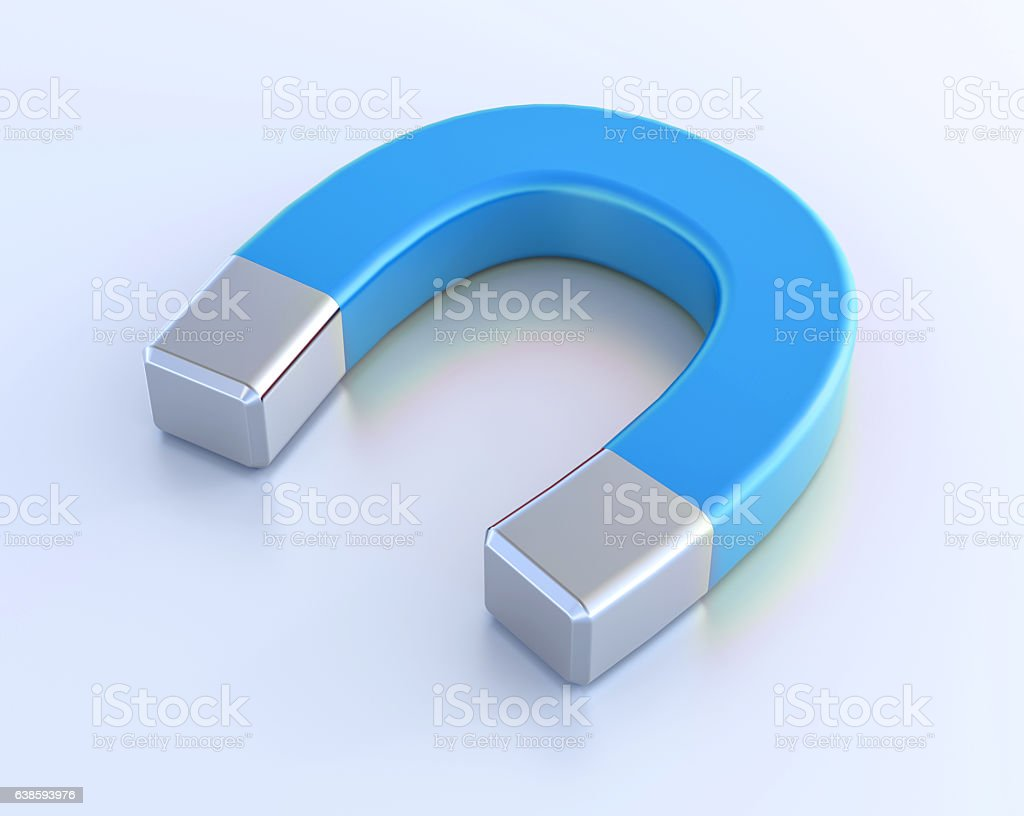 3D Isolated Blue White Magnet Attraction Illustration stock photo