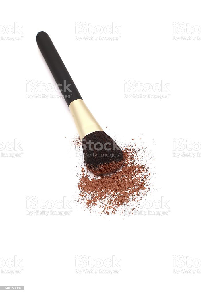 isolated blush brush and powder royalty-free stock photo