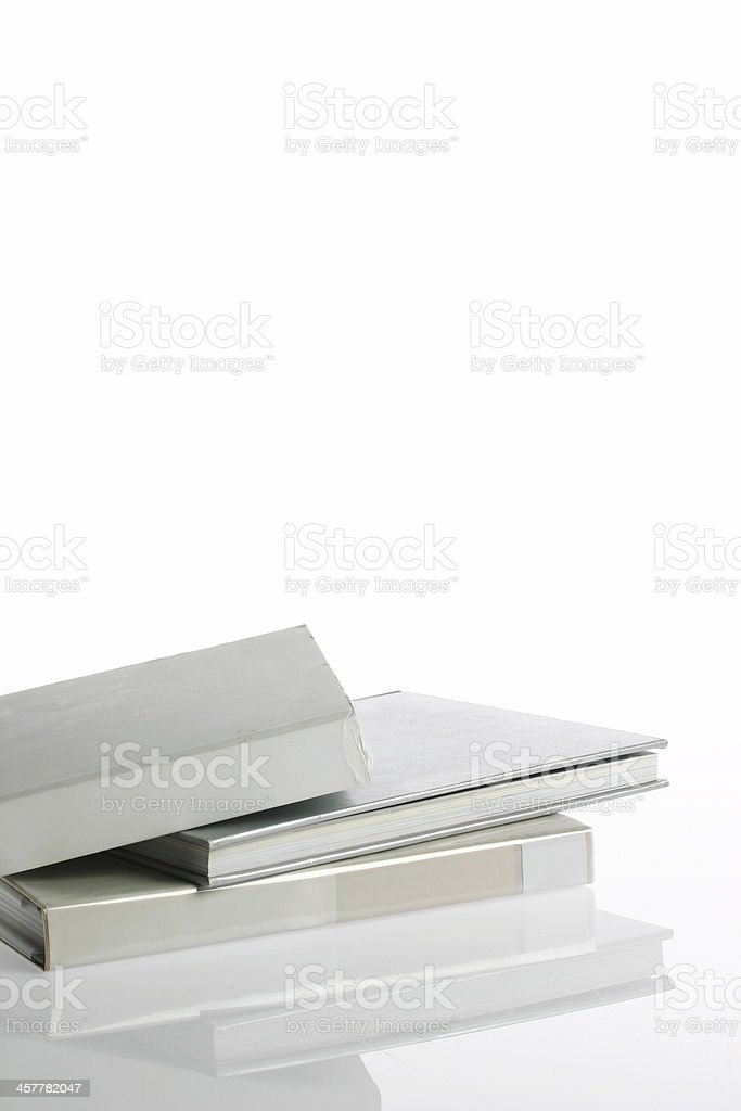 Isolated books with reflection stock photo