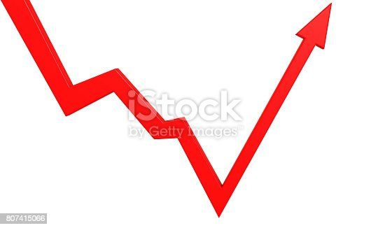 istock Isolated bounce back red arrow 807415066