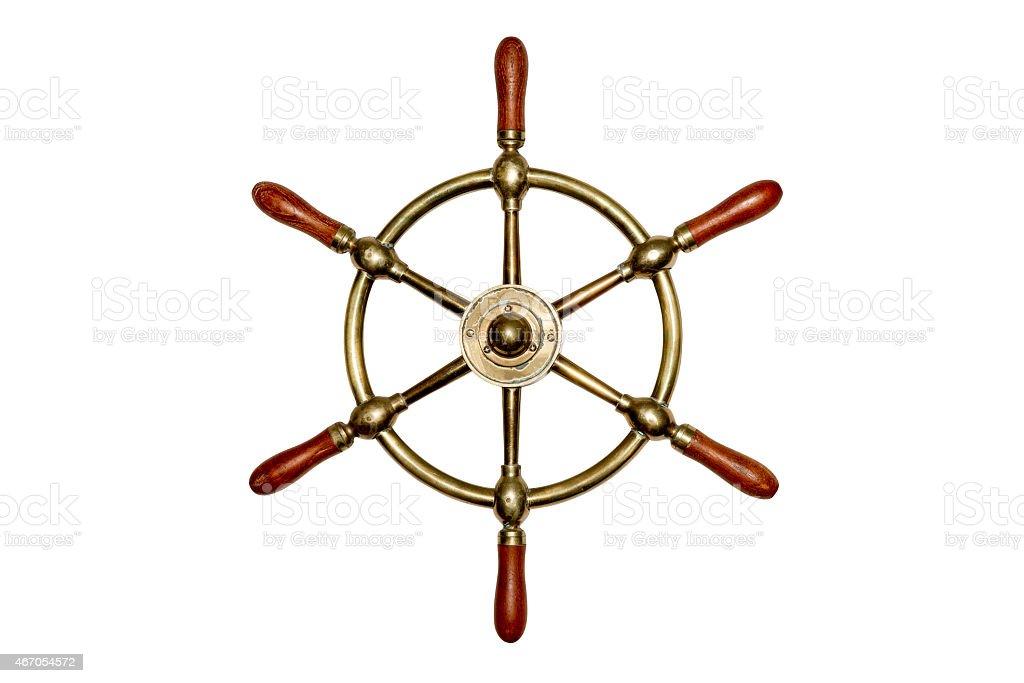 Bateau roue isolé en laiton - Photo