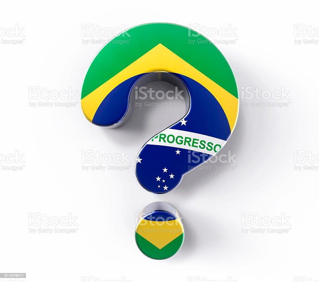 3D Isolated Brazil Flag Question Mark. Doubt Solution Support Co - foto de acervo