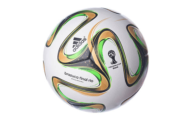 Isolated Brazuca football for the Brazil Worldcup final Ghent, Belgium - June 23rd, 2014: Isolated picture of the Brazucca football for the final of the Brasil world cup football 2014 stock pictures, royalty-free photos & images
