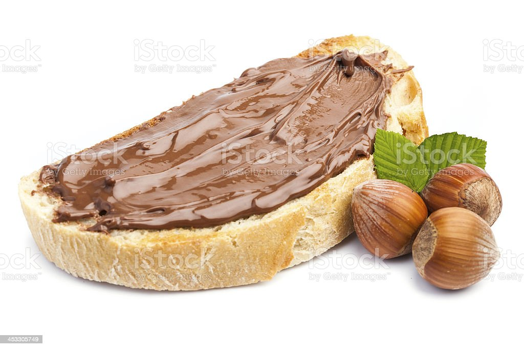 Isolated bread with chocolate cream stock photo