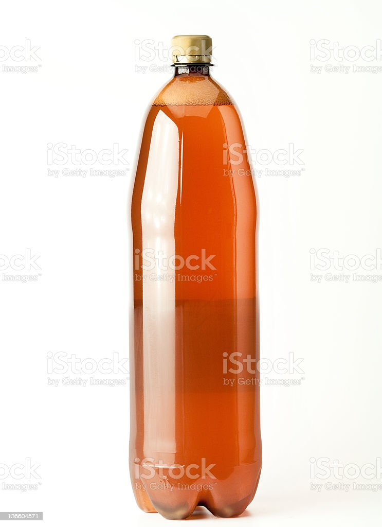 Isolated Brown plastic beer bottle stock photo