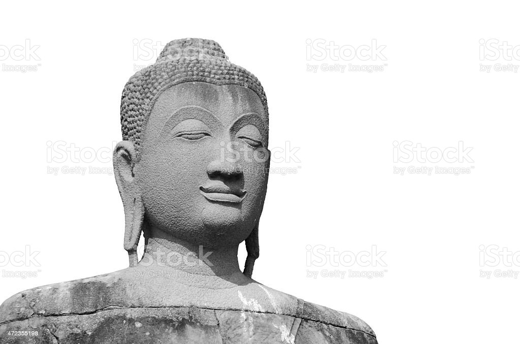 Isolated buddha statue on white background stock photo