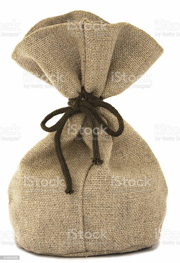 Isolated burlap bag on white background royalty-free stock photo