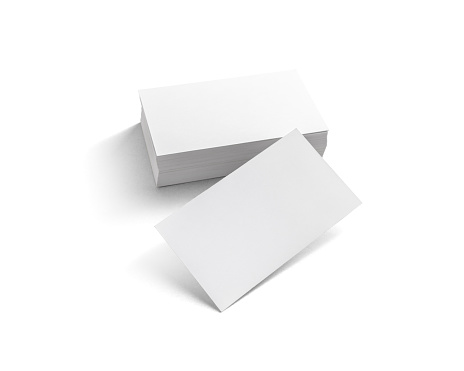 Blank business cards on white background. Template for ID. Isolated with clipping path.
