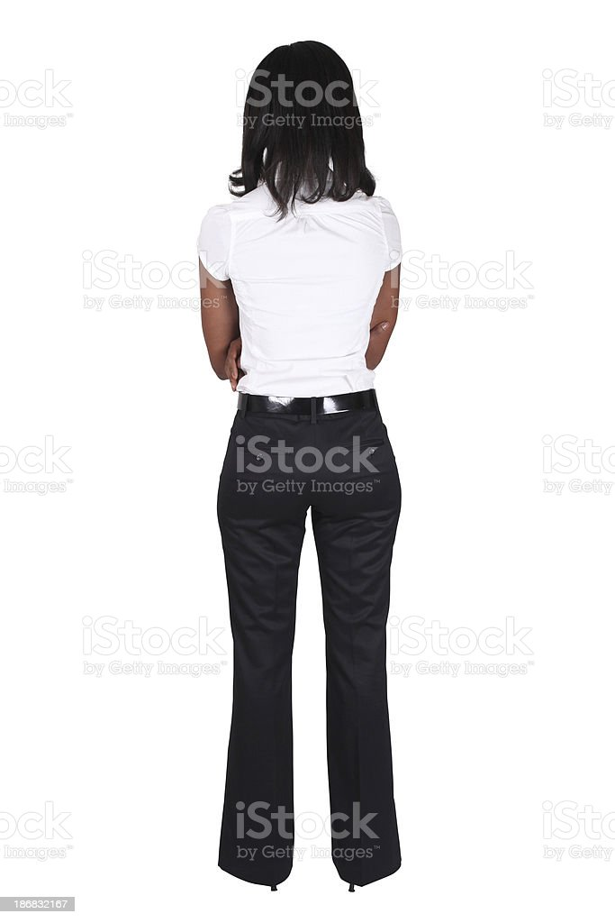 Isolated businesswoman rear view stock photo